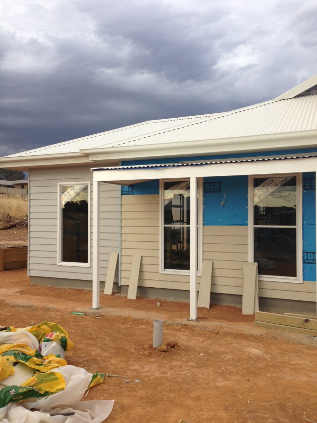 house update the weatherboard is on we have some