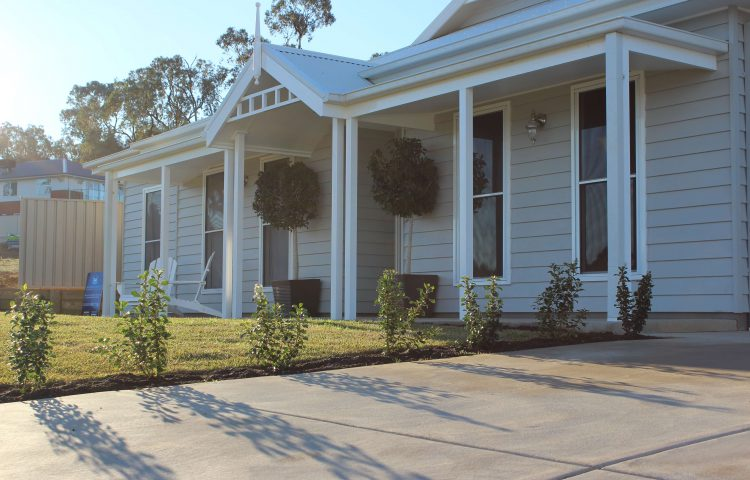 weatherboard house and garden