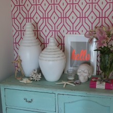 The wallpaper in my house {pink trellis & the world map} PLUS a giveaway