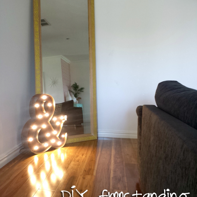 DIY freestanding framed mirror