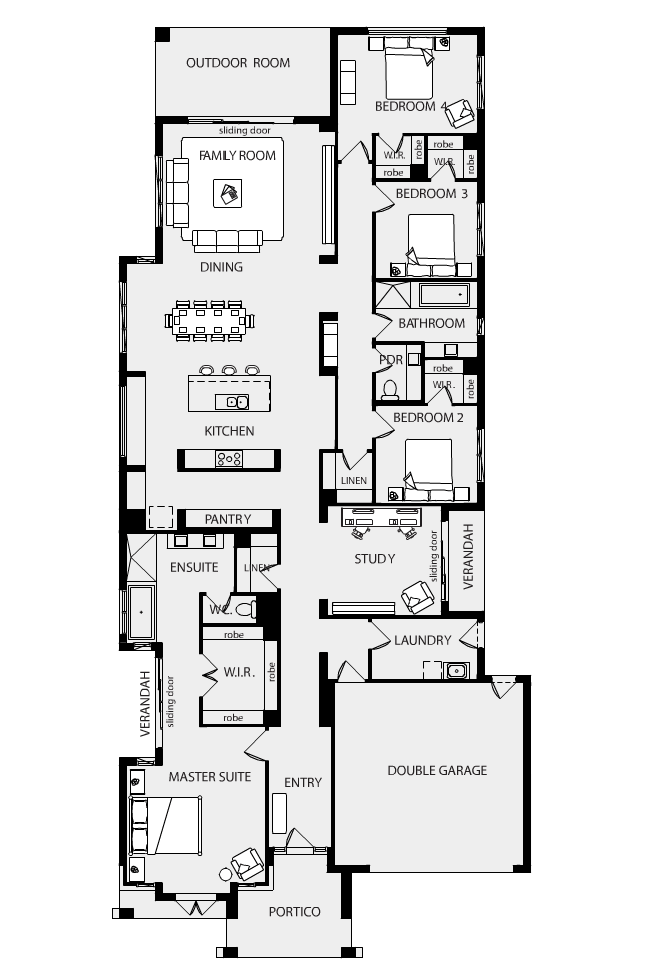 Floor plan friday family home on residental block for Long and narrow house plans