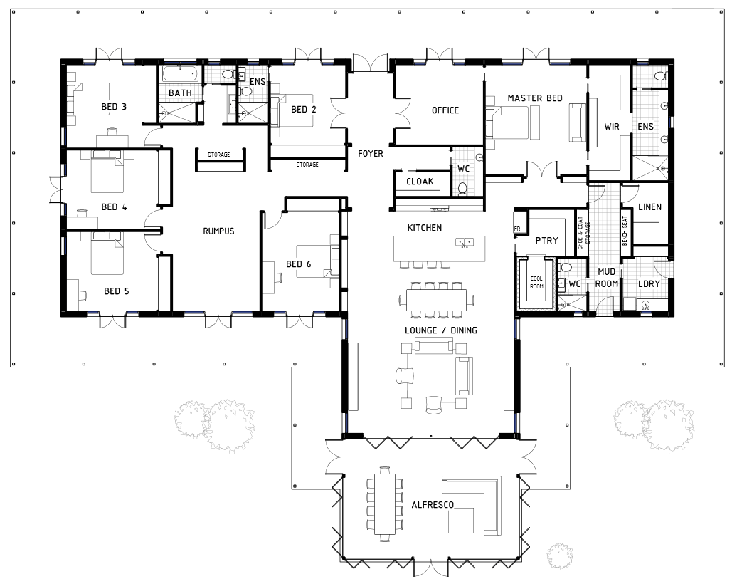17 best 6 bedroom house floor plans house plans 43867 for Floor plan 6 bedroom house