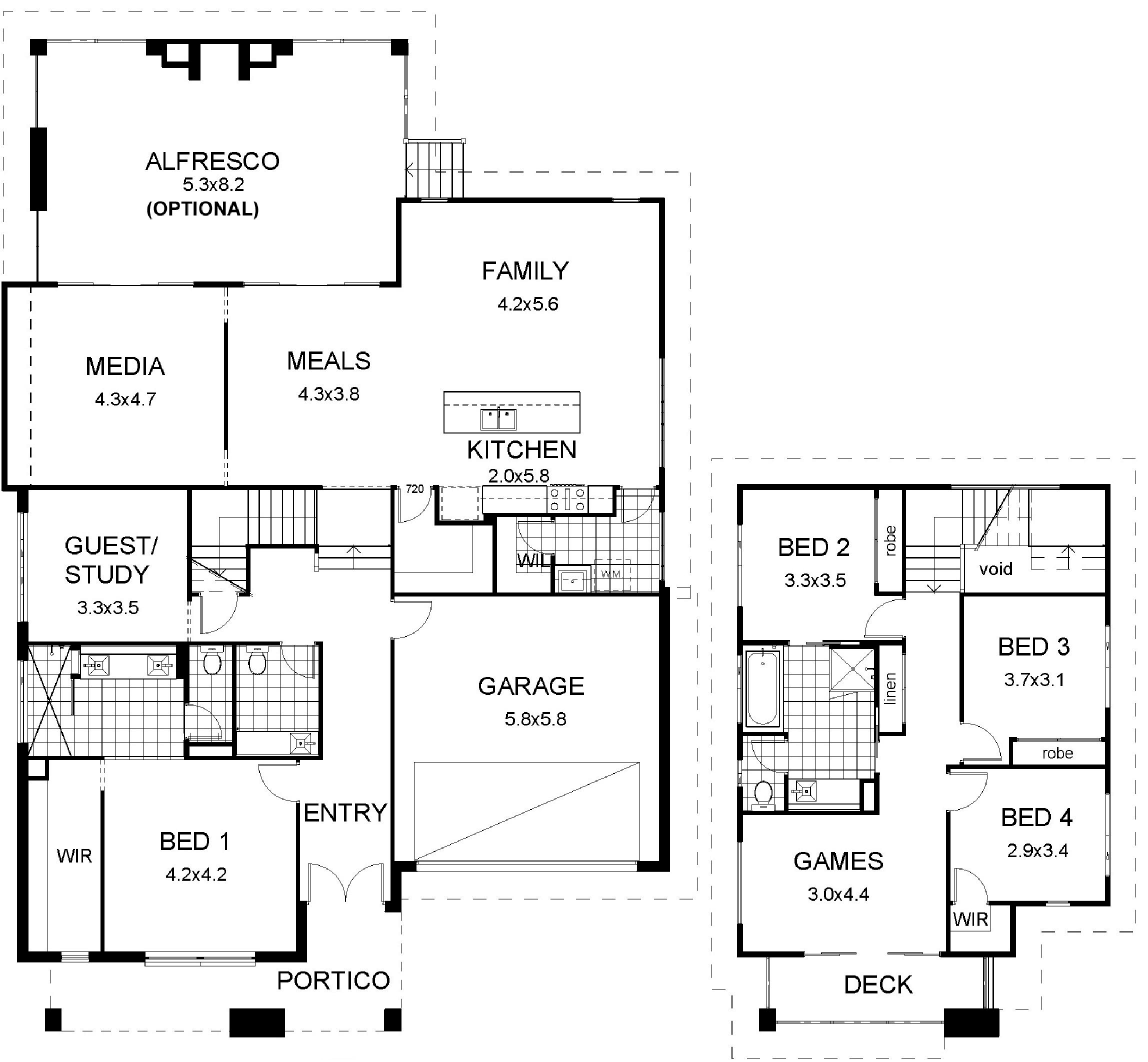 Floor plan friday split level modern for Split floor plan
