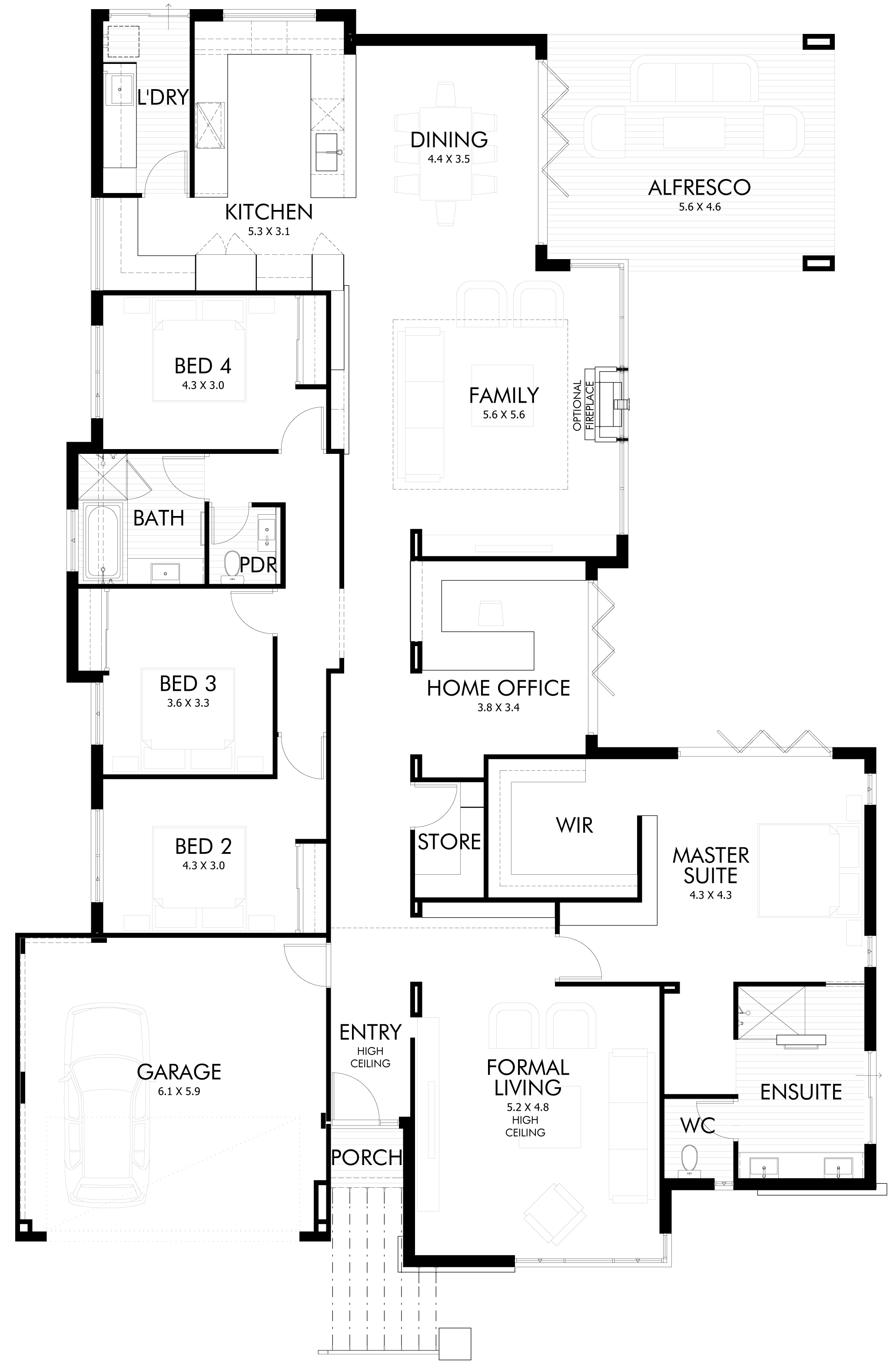 Floor plan friday bifold doors for the entertainers for Pagoda house plans
