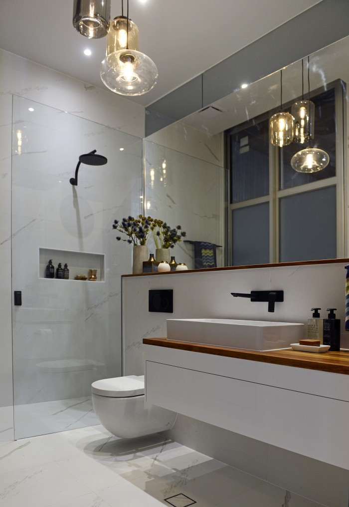 The block glasshouse ensuite week katrina chambers Bathroom designs with separate tub and shower