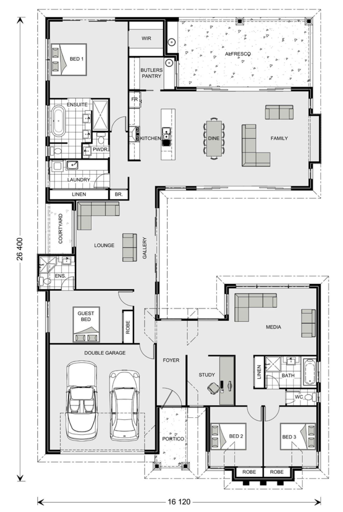 Floor plan friday separate living zones for House plans with separate kitchen