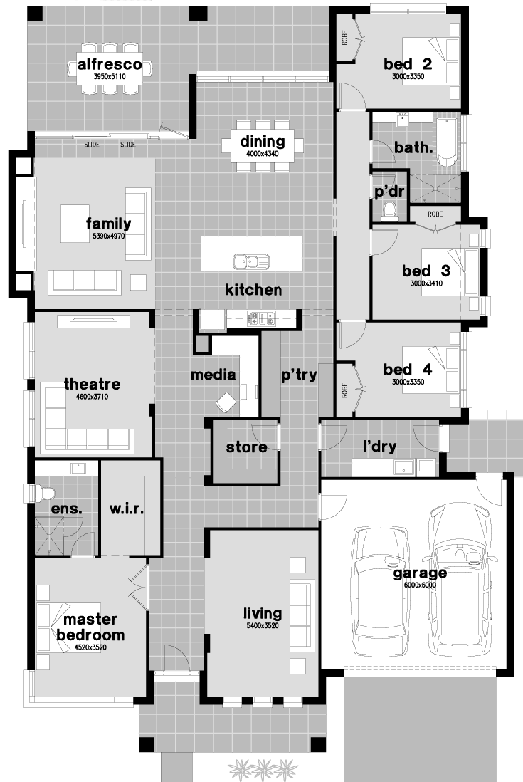 Floor plan friday family home with walk through pantry for House plans with media room