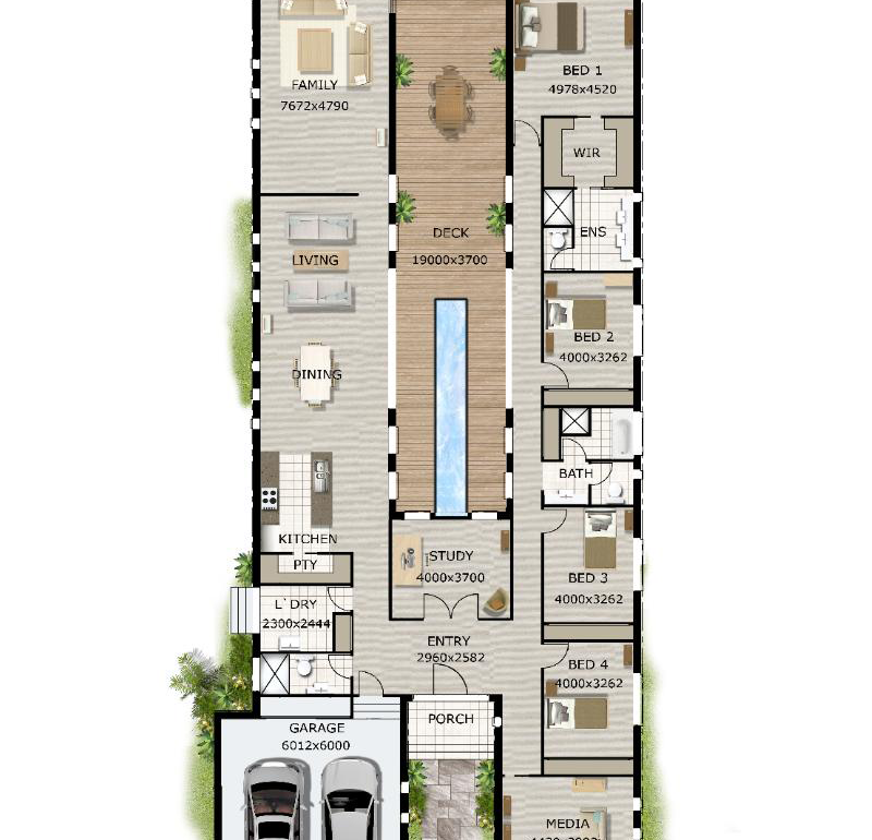 floor plan friday pool in the middle amp narrow block u shaped house plans with pool in the middle home design
