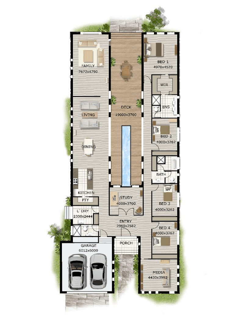 Floor plan friday pool in the middle narrow block - Home design and plans ...