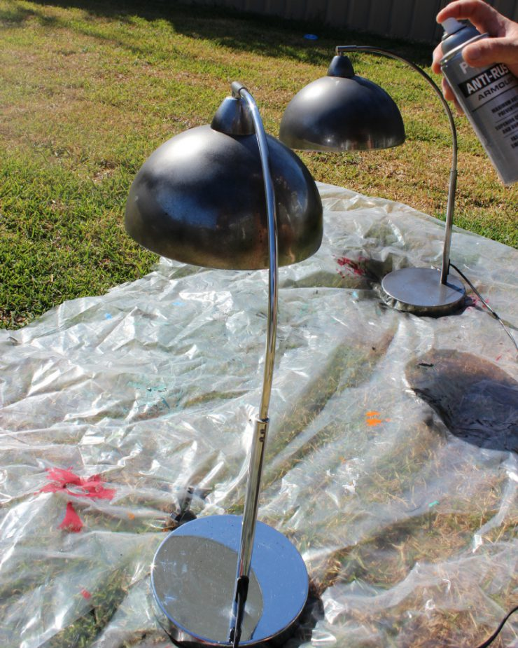 DIY: Update chrome lamps with spray paint