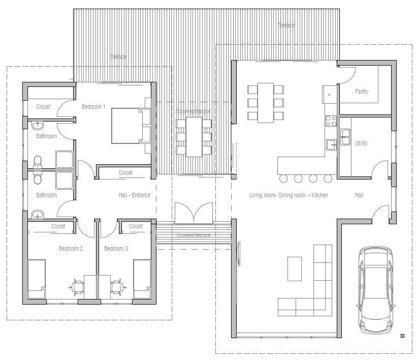 Floor plan friday 3 bedroom modern house with high for Modern open floor plan house designs