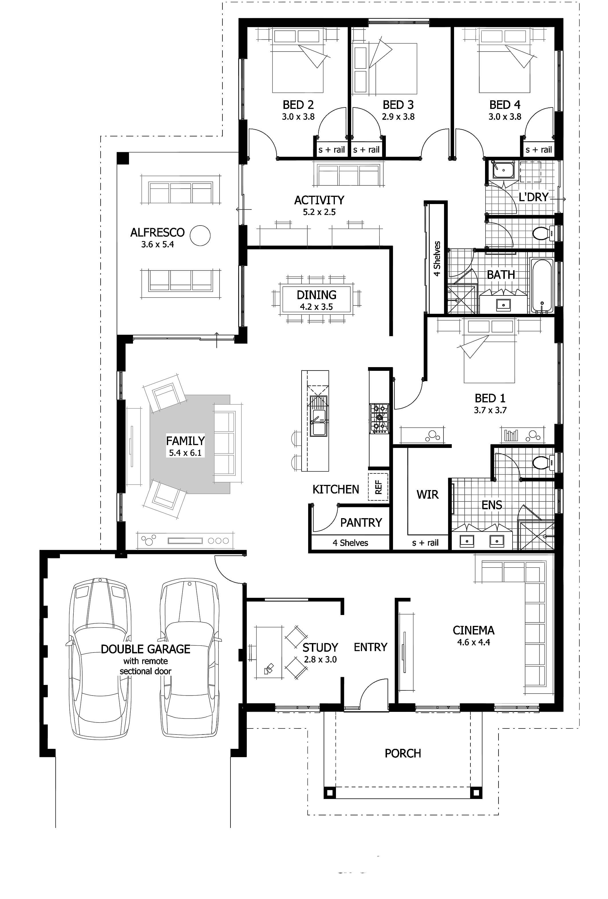 Floor plan friday study home cinema activity room large undercover alfresco area Small bathroom floor plans australia