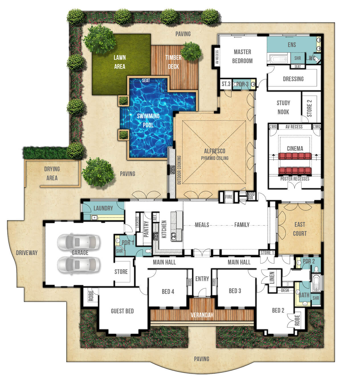 Floor plan friday federation style splendour for Multi family house plans with courtyard