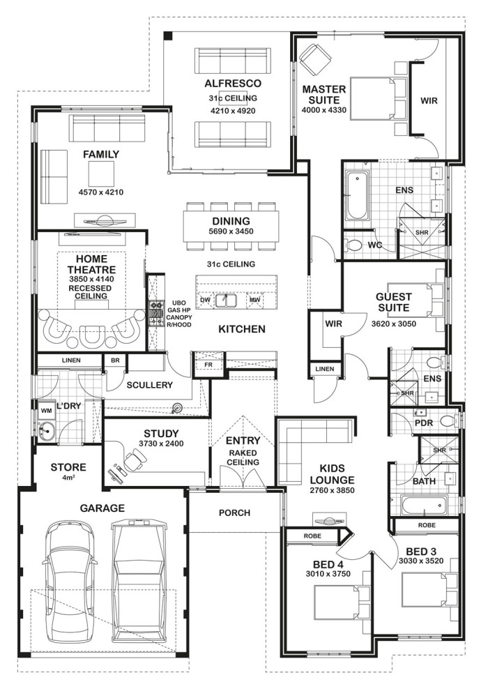 Floor plan friday 4 bedroom 3 bathroom home for 3000 sq ft gym layout