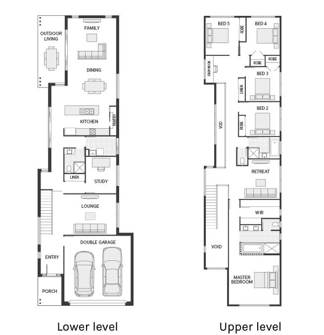 Floor plan friday narrow but large 2 storey home for Narrow row house floor plans