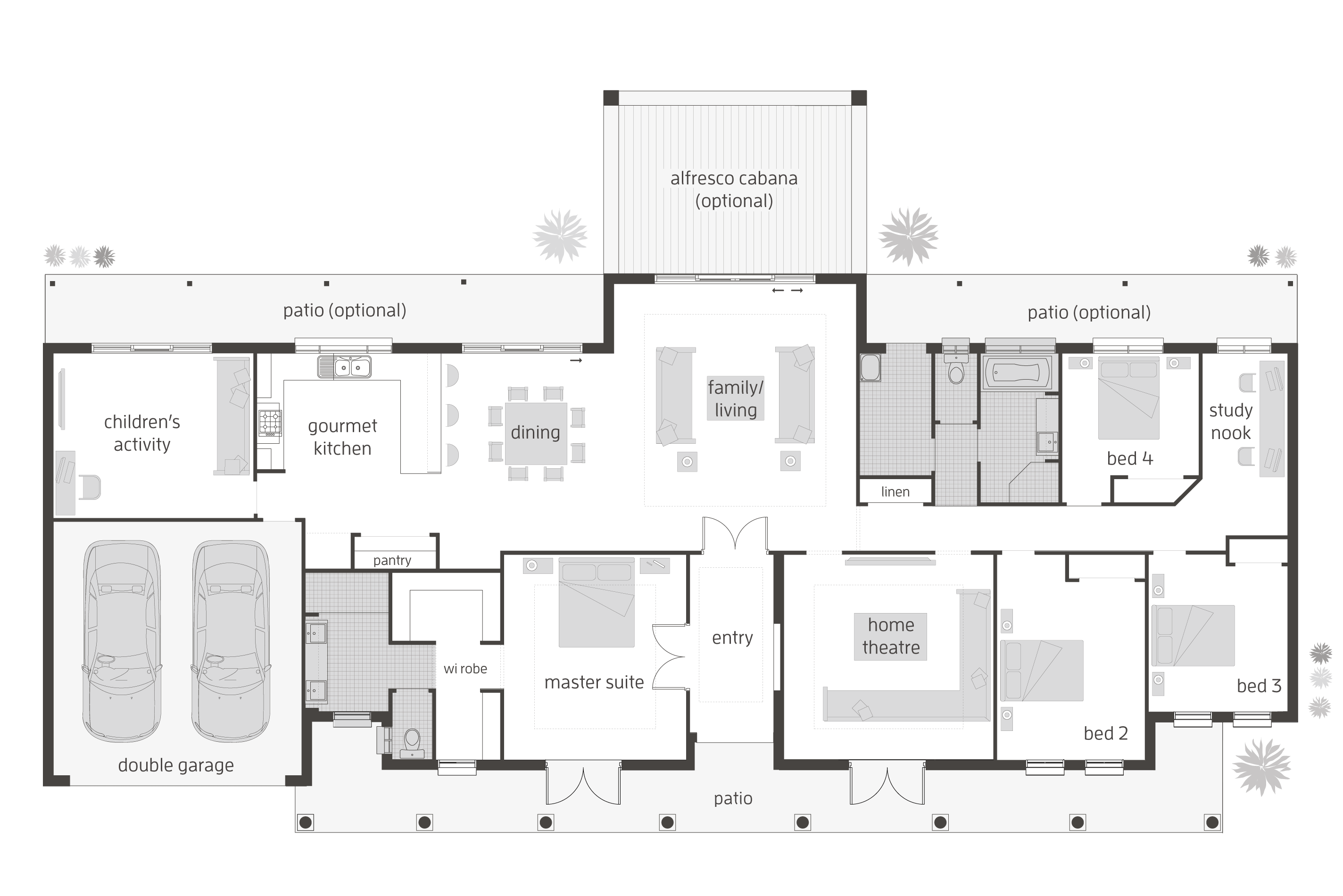Floor plan friday 4 bedroom children 39 s activity room for House designs for acreage