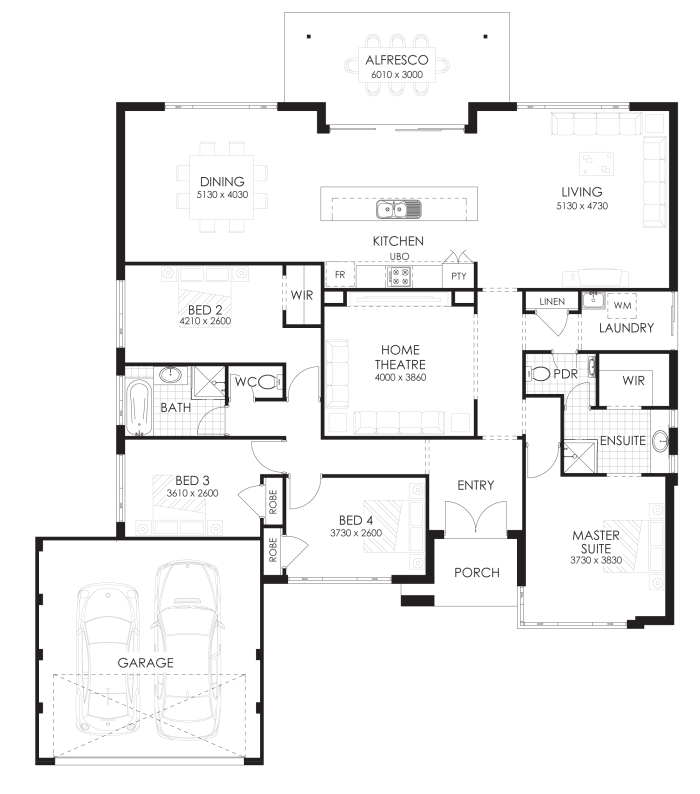 Floor plan friday 4 bedroom home with rear views Rear view home plans