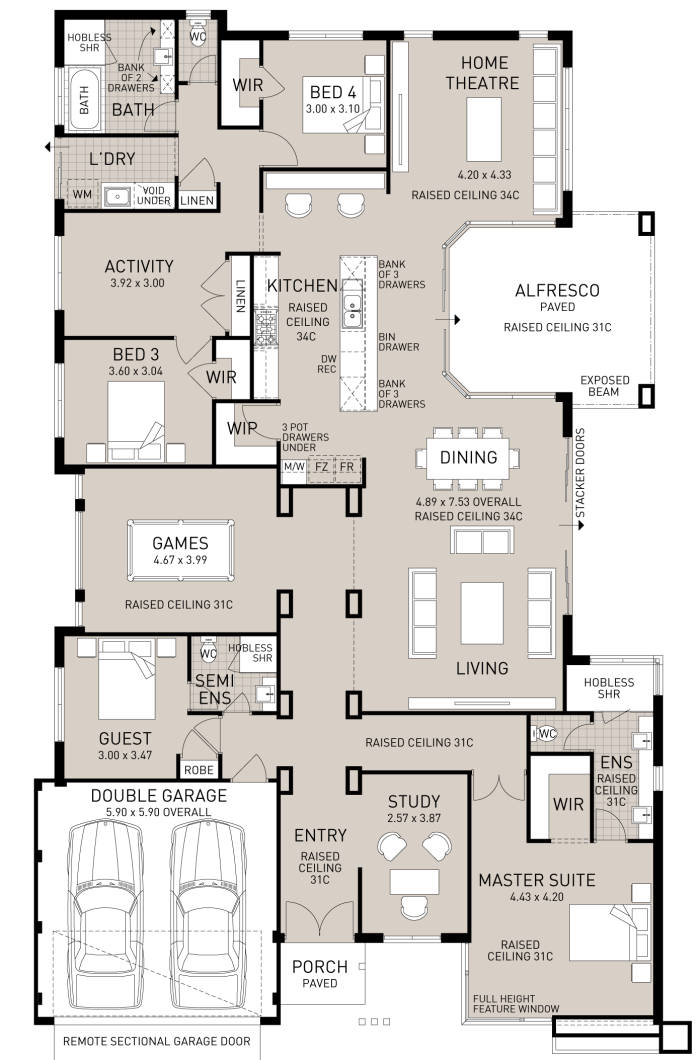 Floor plan friday the home with everything for Study bed plans
