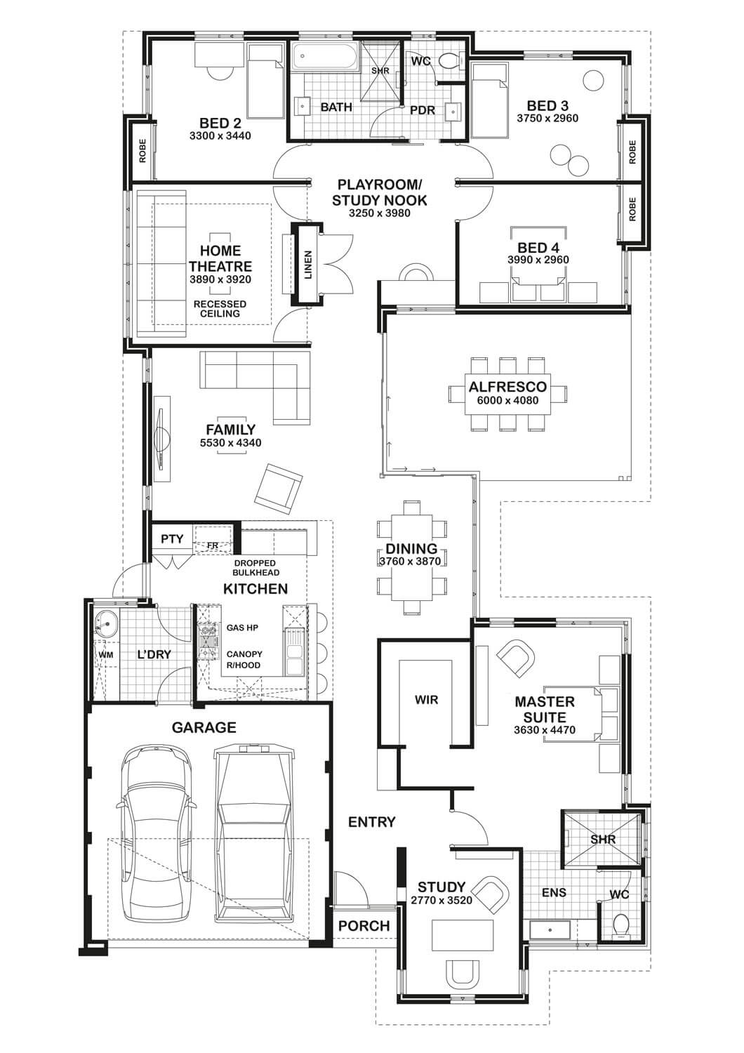 Floor plan friday study home theatre open play area for House plans with theater room