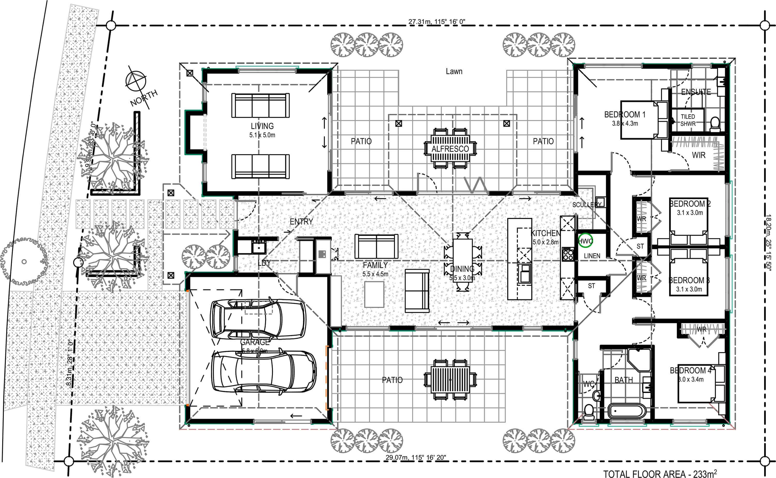 Floor plan friday 4 bedroom with family living and scullery 4 bedroom plus office house plans
