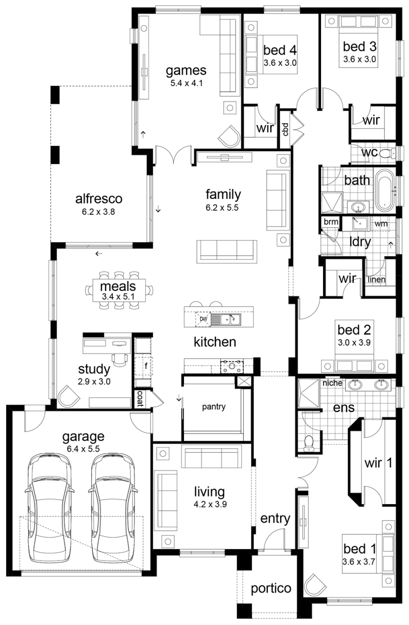 Floor plan friday 4 bedroom family home for Two storage house designs