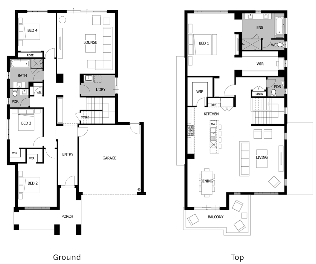Floor plan friday 2 storey living on top for Two storey house design with floor plan