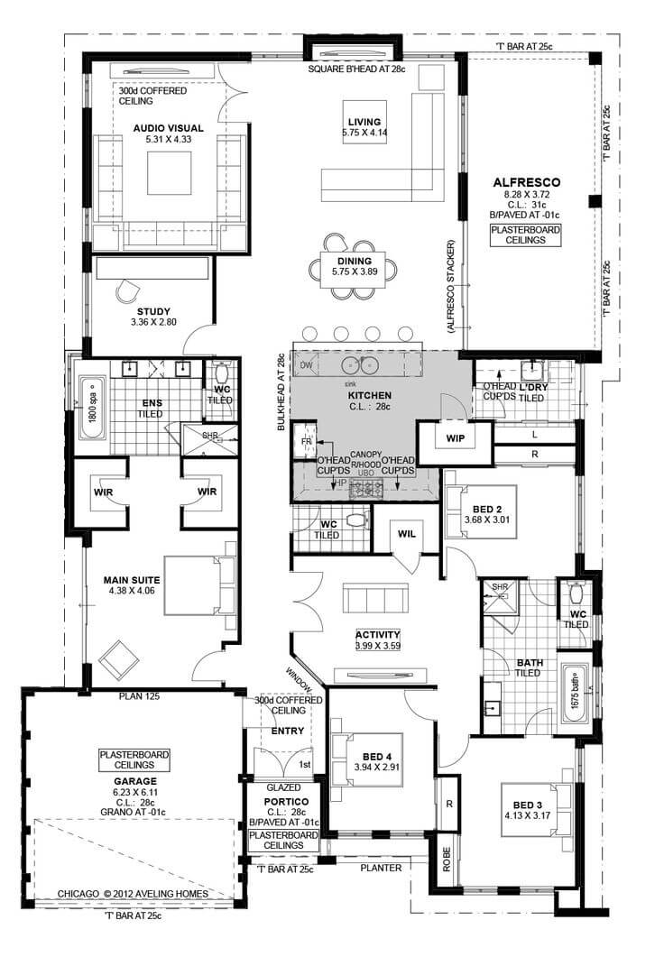 Floor plan friday family home with study 3 family house plans