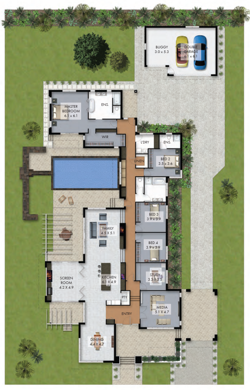 Floor plan friday luxury 4 bedroom family home with pool for Luxury home plans with pools