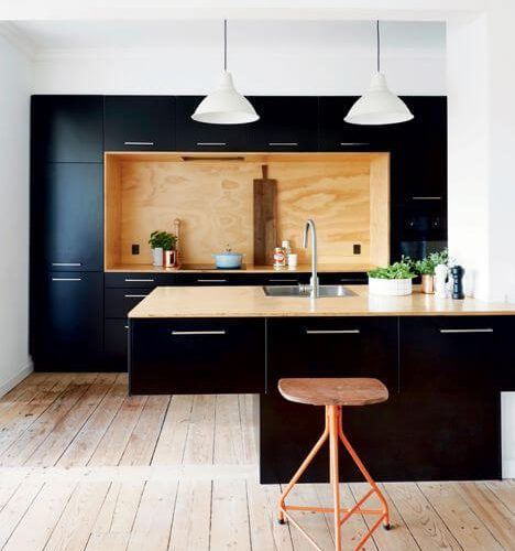 Bon Iu0027ve Seen A Couple Of New Kitchens Pop Up On The Internet With The Cut Out  In The Rear Wall. I Am Falling In Love With This Look. The Timber And Matte  Black ...