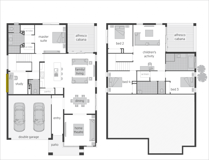 Floor plan friday split level rear for Split floor plan