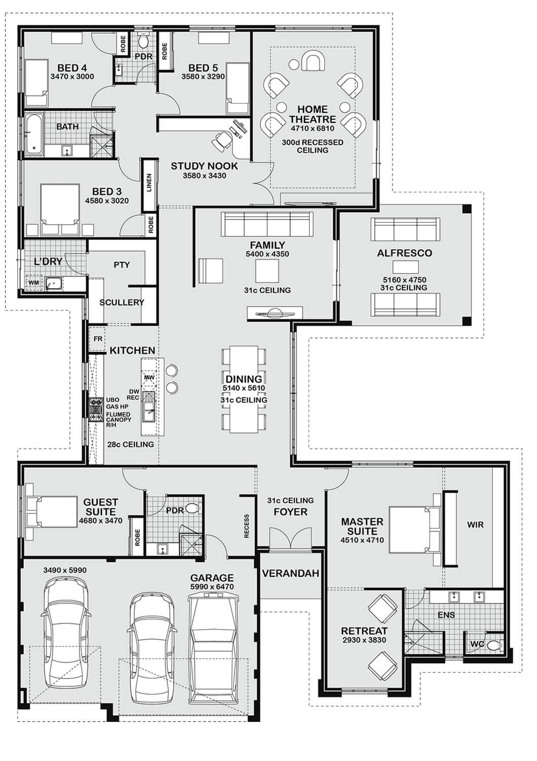Floor plan friday 5 bedroom entertainer for 5 bedroom house floor plans