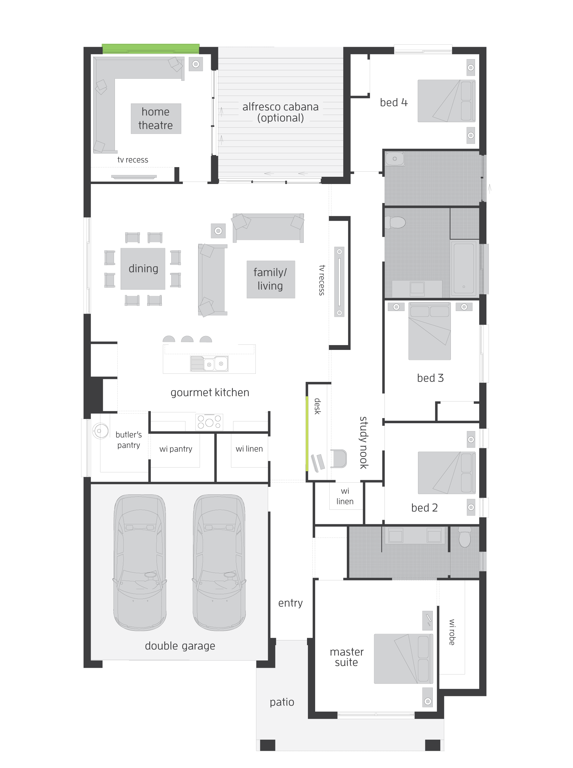 Floor plan friday 4 bedroom with theatre study nook for S bedroom house plans