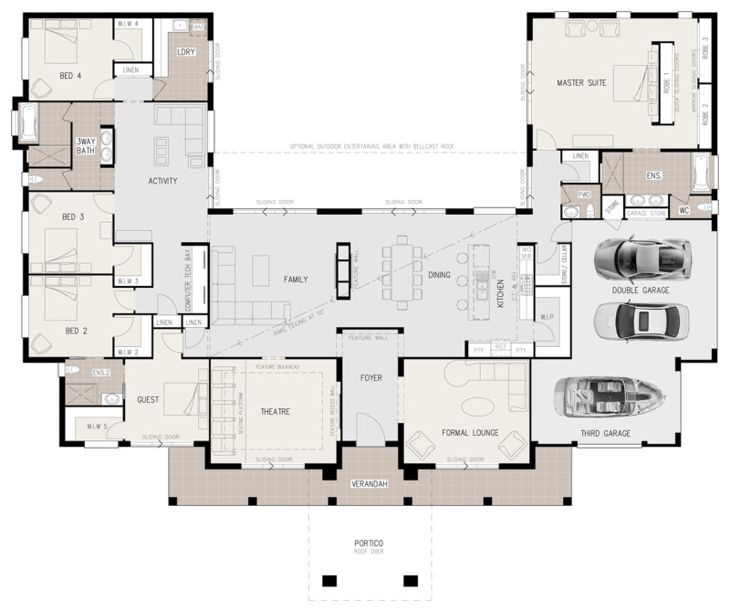 Floor plan friday u shaped 5 bedroom family home for U shaped living room layout