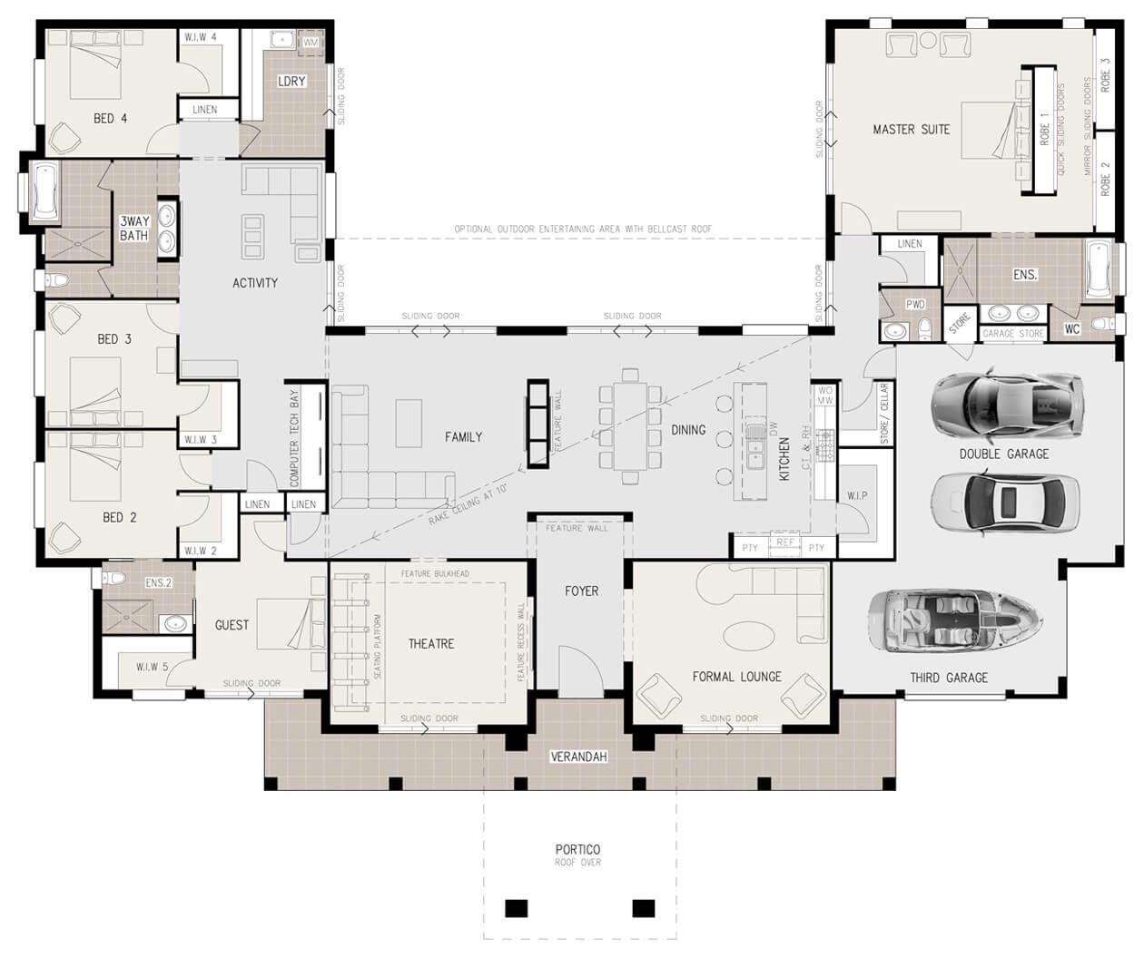 floor plan friday u shaped 5 bedroom family home