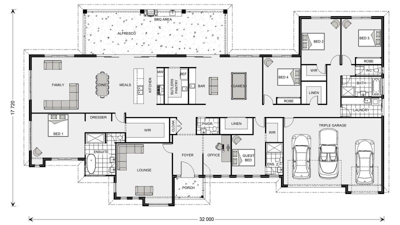 Floor plan friday 5 bedroom acreage style home with for 5 bedroom house designs