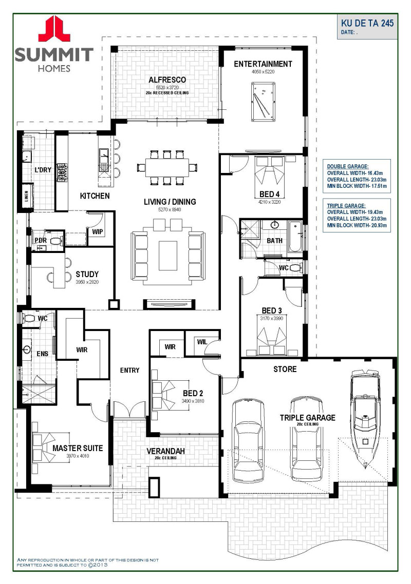 Floor plan friday open living with triple garage Wide frontage house designs