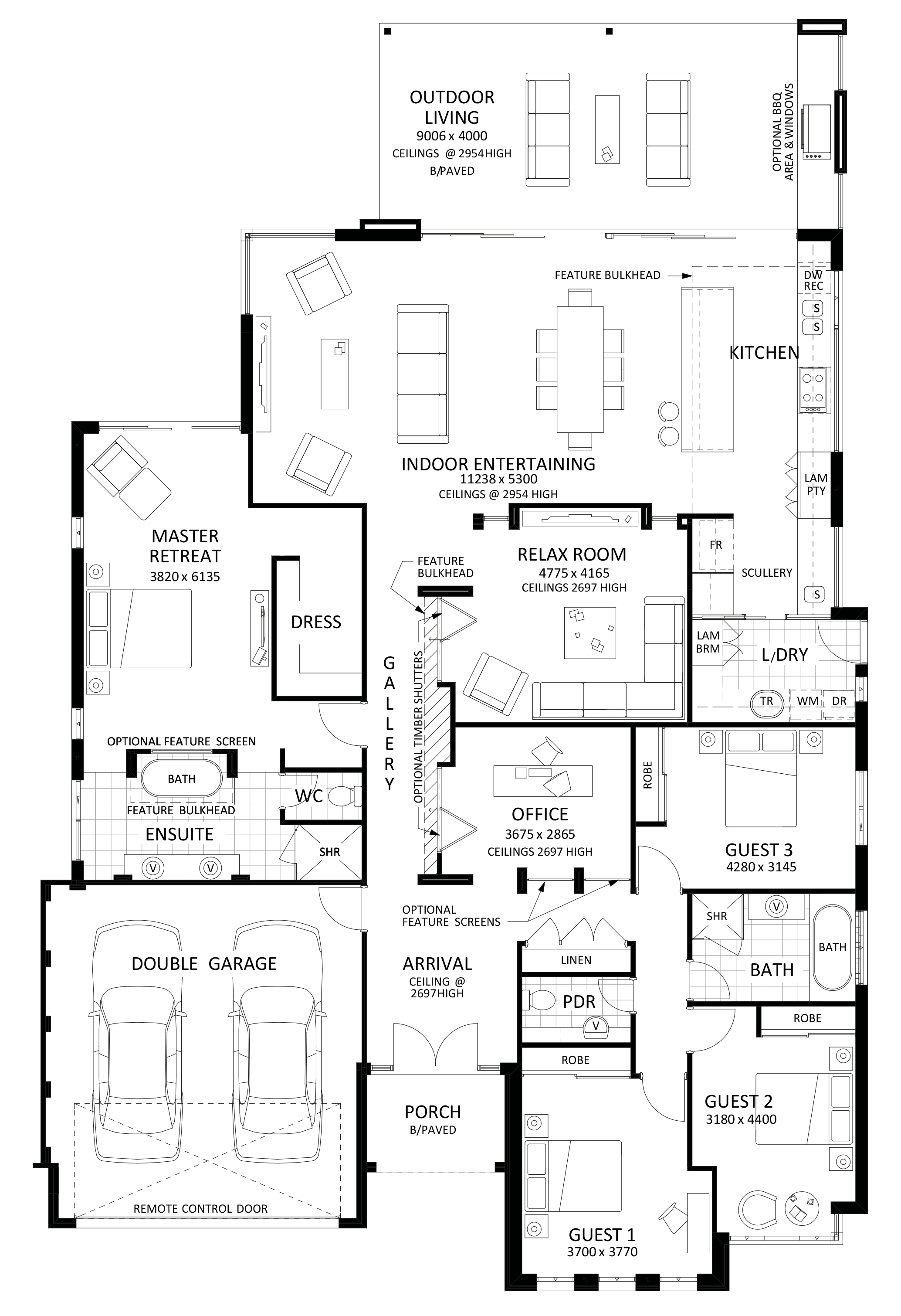 Floor plan friday excellent 4 bedroom bifolds with for Large home plans for entertaining