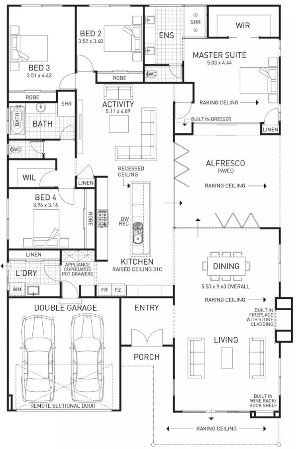 Floor plan friday family home with built in fireplace for Fireplace floor plan