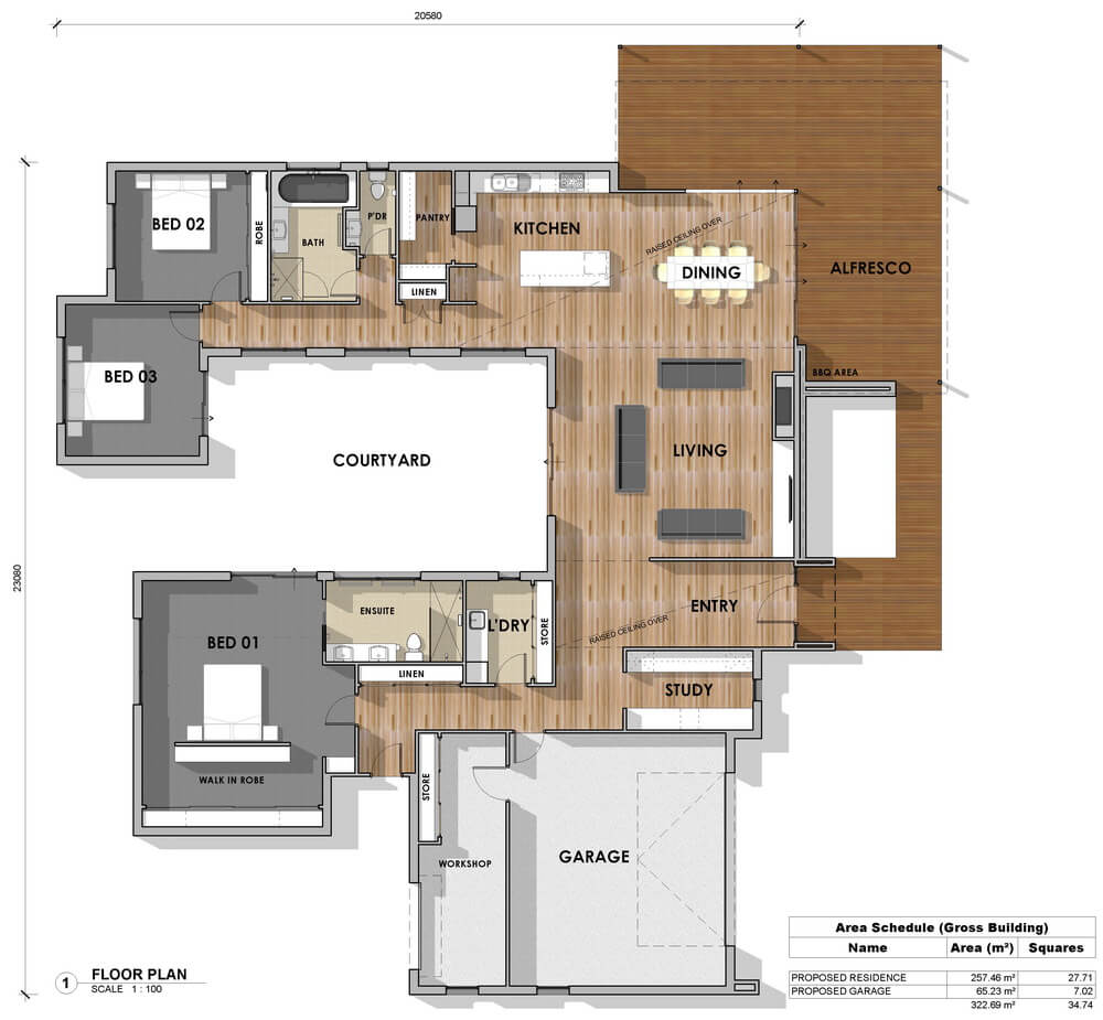 Floor plan friday 3 bedroom study u shape for U shaped house plans