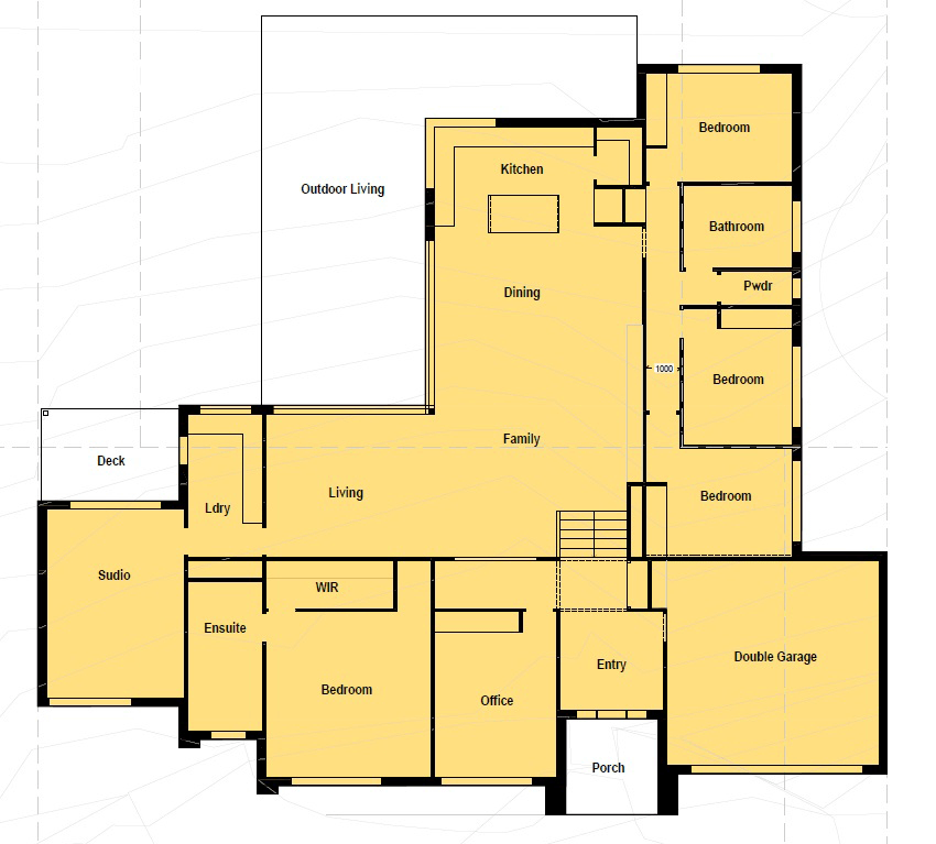 Floor plan friday u shaped home katrina chambers for Corner block home designs