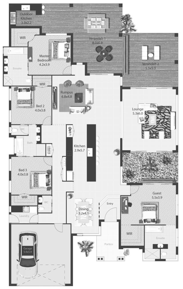 New Here us a big bedroom contemporary floor plan I think it would serve a lot of purposes u a family with teens Grandma living with you or a great space