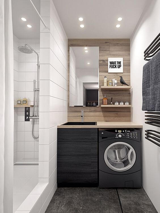 Even a narrow space could be used for a laundry room. Just don't