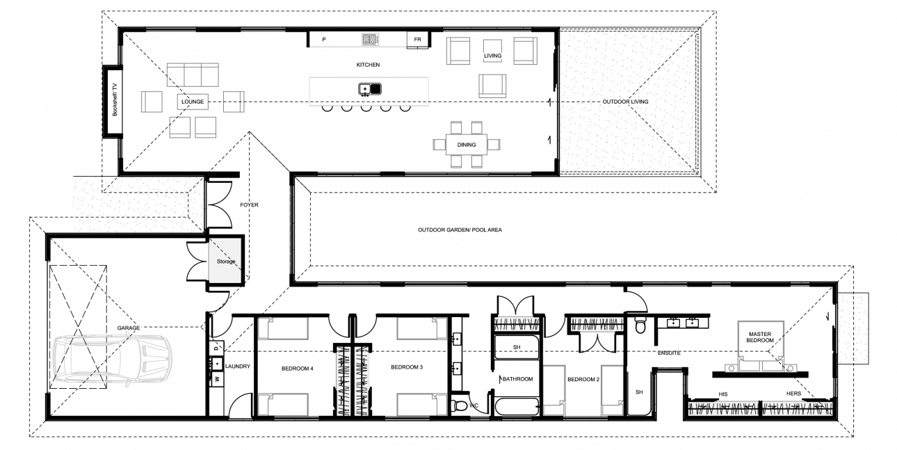 Floor plan friday 4 bedroom h shaped home Bali house designs floor plans