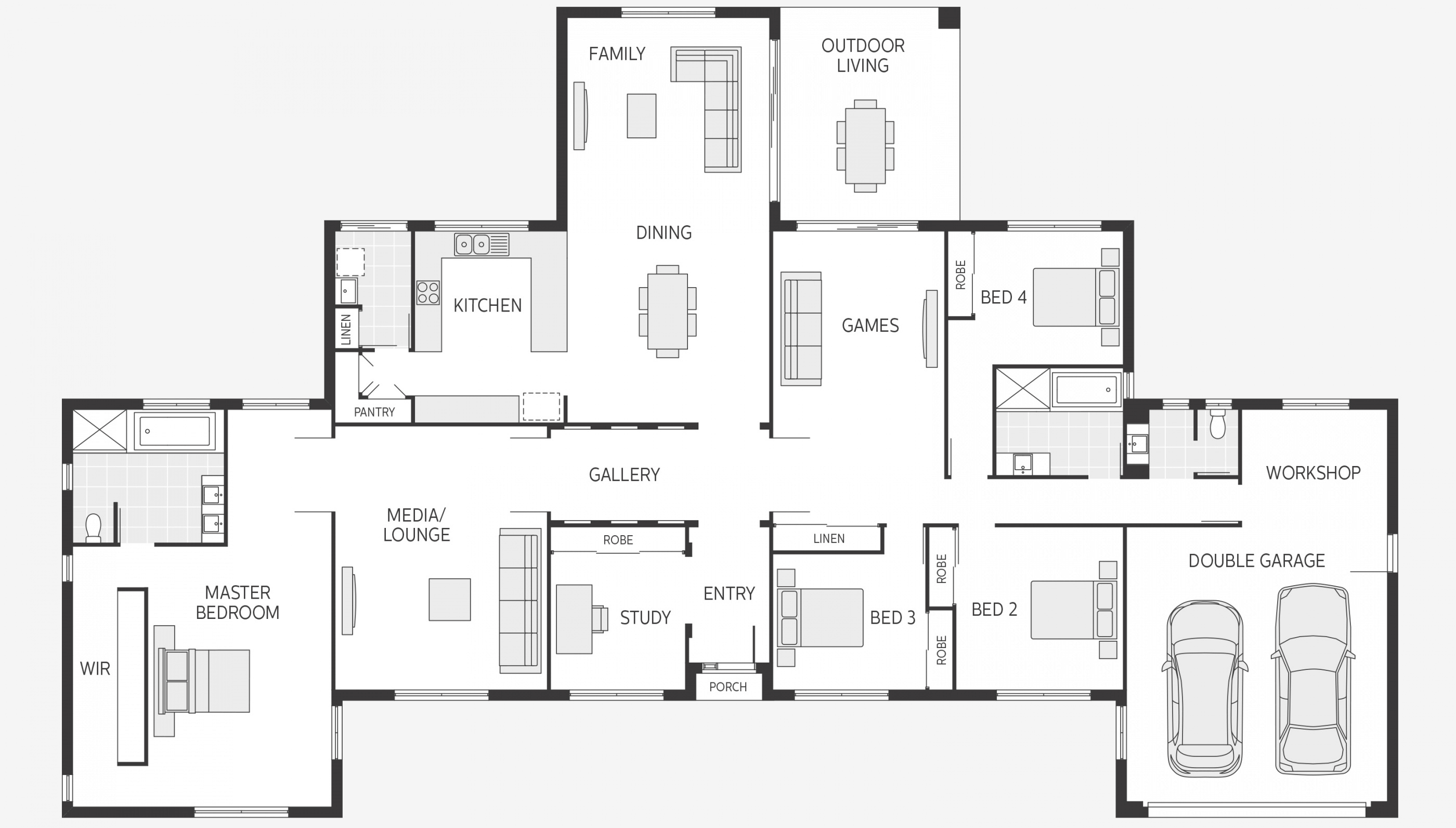 Floor plan friday ranch symmetry for Long ranch style house plans