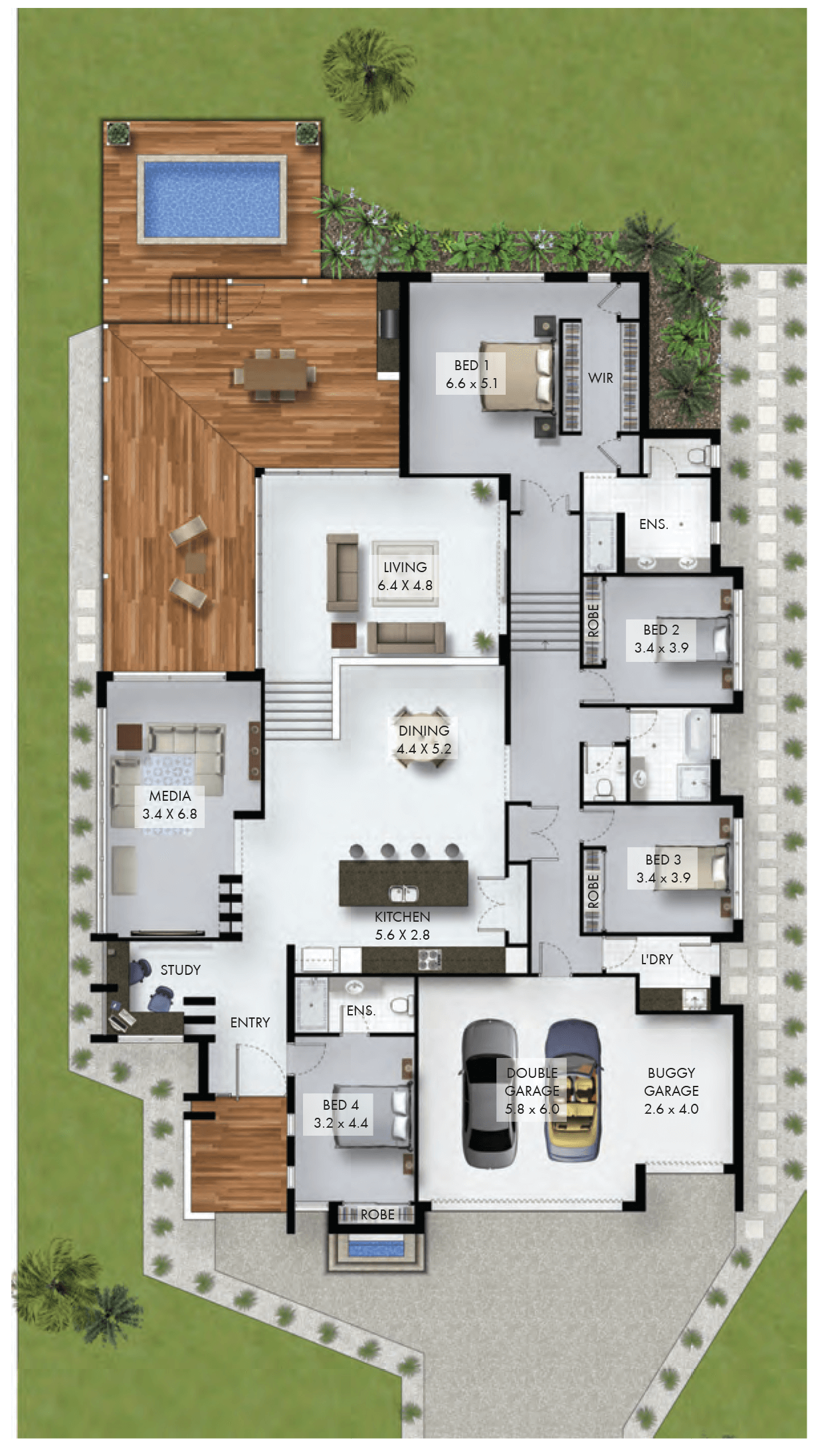 4 bedroom home with study nook and triple car garage for The world deck plans