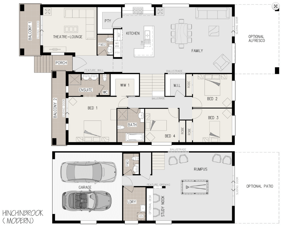 Floor plan friday sloping block with level rear for Home designs for sloping blocks
