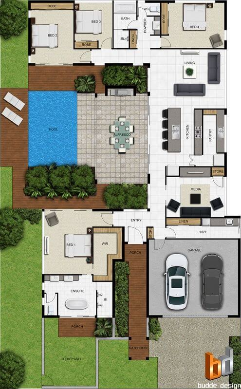 Floor plan friday separate bedrooms alfresco pool for Pool house plans with bedroom