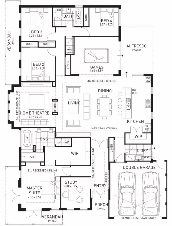 Floor plan friday kids at the back parents at the front - Master on main house plans image ...