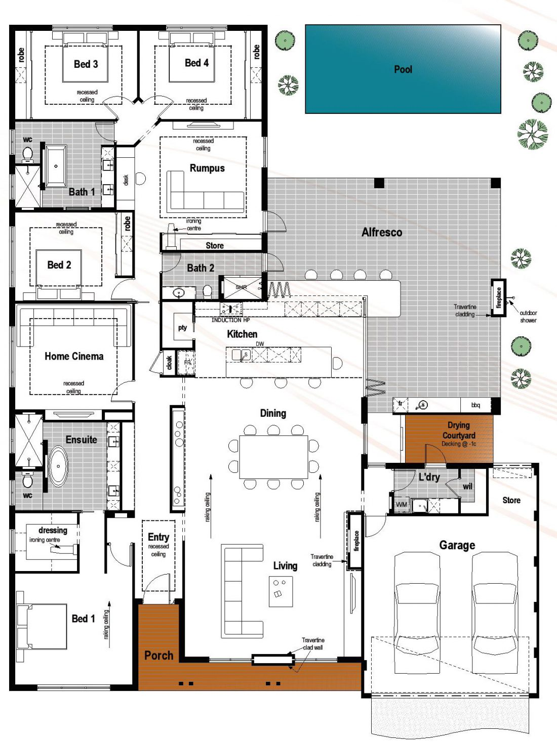 Floor plan friday 4 bedroom 3 bathroom with modern skillion roof - Home plans with large kitchens ...