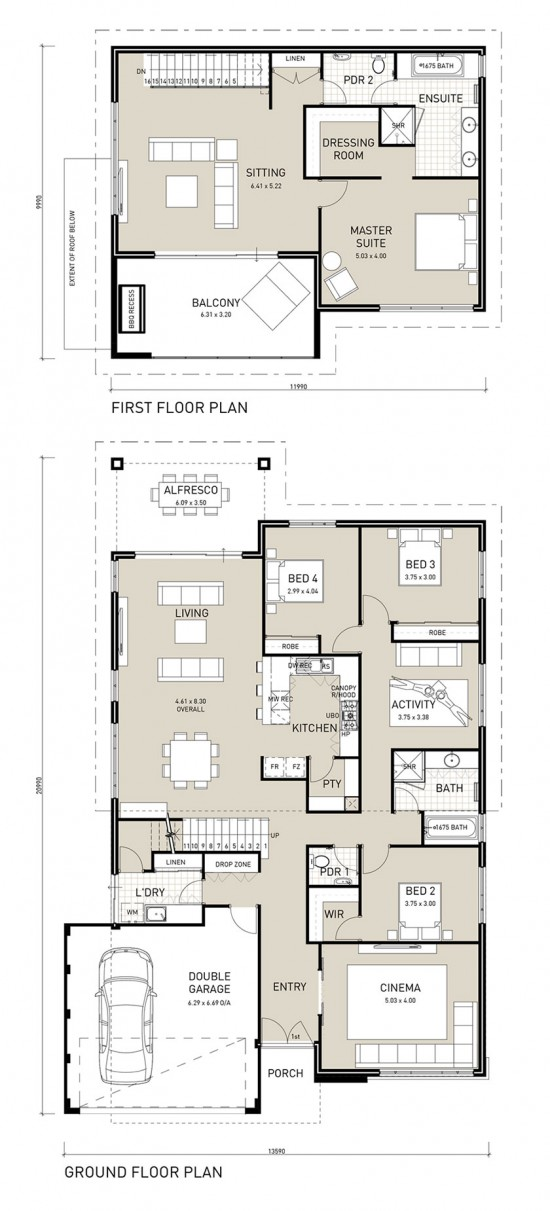 Floor plan friday two storey four bedroom with private for Upstairs house plans